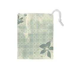 Shadow Flower Gray Drawstring Pouches (medium)  by AnjaniArt