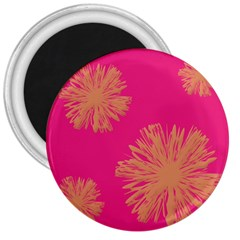 Yellow Flowers On Pink Background Pink 3  Magnets