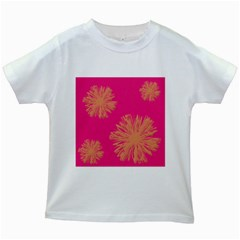 Yellow Flowers On Pink Background Pink Kids White T Shirts