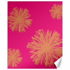 Yellow Flowers On Pink Background Pink Canvas 11  X 14