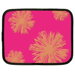 Yellow Flowers On Pink Background Pink Netbook Case (xl)