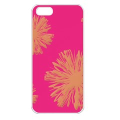 Yellow Flowers On Pink Background Pink Apple Iphone 5 Seamless Case (white)