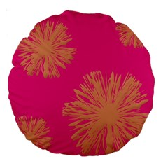 Yellow Flowers On Pink Background Pink Large 18  Premium Round Cushions