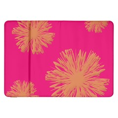 Yellow Flowers On Pink Background Pink Samsung Galaxy Tab 8 9  P7300 Flip Case