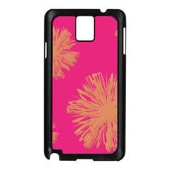 Yellow Flowers On Pink Background Pink Samsung Galaxy Note 3 N9005 Case (black)