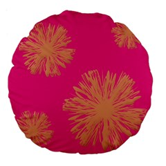 Yellow Flowers On Pink Background Pink Large 18  Premium Flano Round Cushions by AnjaniArt