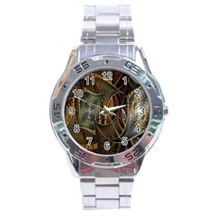 Mosaics Stained Glass Stainless Steel Analogue Watch by AnjaniArt