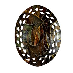 Mosaics Stained Glass Ornament (oval Filigree)  by AnjaniArt