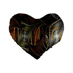 Mosaics Stained Glass Standard 16  Premium Heart Shape Cushions by AnjaniArt