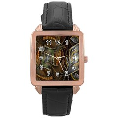 Mosaics Stained Glass Rose Gold Leather Watch