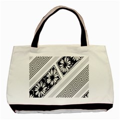 Stripe Seamless Flower Basic Tote Bag (two Sides) by AnjaniArt