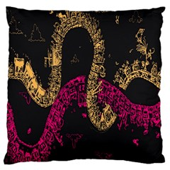 Abstraction Pink Orange Black Large Cushion Case (one Side)
