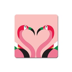 Bird Flamingo Illustration Love Square Magnet by Jojostore