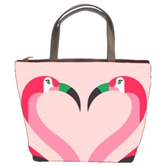 Bird Flamingo Illustration Love Bucket Bags by Jojostore