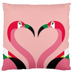 Bird Flamingo Illustration Love Large Flano Cushion Case (two Sides)