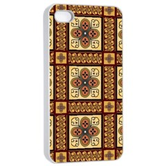 Batik Flower Brown Apple Iphone 4/4s Seamless Case (white) by Jojostore
