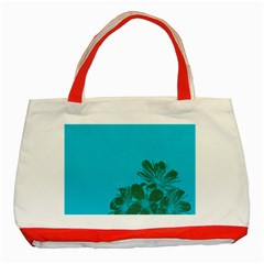 Blue Flower Classic Tote Bag (red)