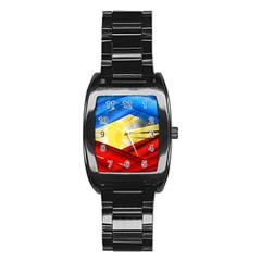 Blue Red Yellow Colors Stainless Steel Barrel Watch by Jojostore