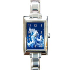 Blue Sky Clouds Rectangle Italian Charm Watch