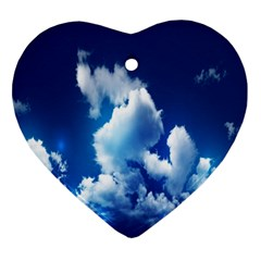 Blue Sky Clouds Ornament (heart)