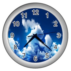 Blue Sky Clouds Wall Clocks (silver)