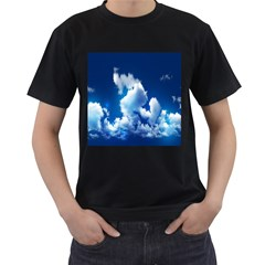 Blue Sky Clouds Men s T-shirt (black) (two Sided)