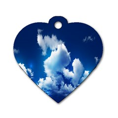 Blue Sky Clouds Dog Tag Heart (two Sides) by Jojostore