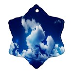 Blue Sky Clouds Ornament (Snowflake)  Front
