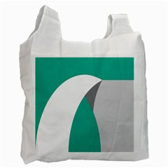 Chevron Green Gray White Recycle Bag (two Side)  by Jojostore