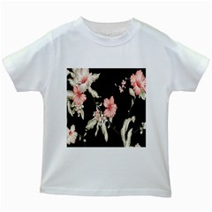Buds Petals Dark Flower Pink Kids White T Shirts