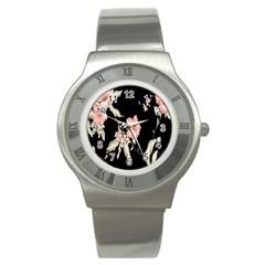 Buds Petals Dark Flower Pink Stainless Steel Watch