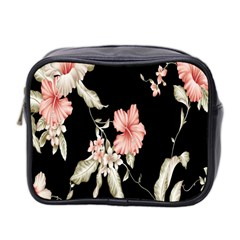 Buds Petals Dark Flower Pink Mini Toiletries Bag 2 Side