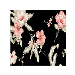 Buds Petals Dark Flower Pink Small Satin Scarf (square)