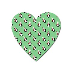 Christmas Penguin Green Heart Magnet by Jojostore