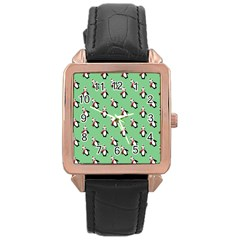Christmas Penguin Green Rose Gold Leather Watch
