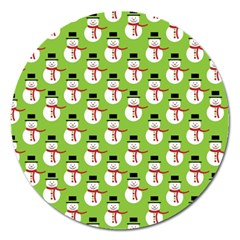 Christmas Snowman Wallpaper Magnet 5  (round) by Jojostore