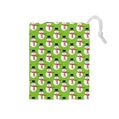 Christmas Snowman Wallpaper Drawstring Pouches (medium)  by Jojostore