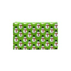Christmas Snowman Wallpaper Cosmetic Bag (xs) by Jojostore
