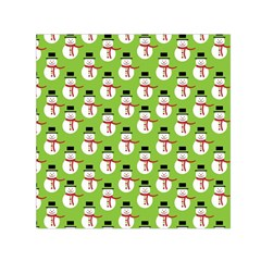 Christmas Snowman Wallpaper Small Satin Scarf (square)