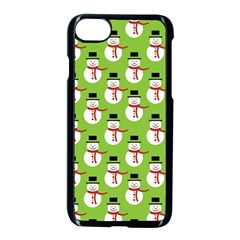 Christmas Snowman Wallpaper Apple Iphone 7 Seamless Case (black) by Jojostore