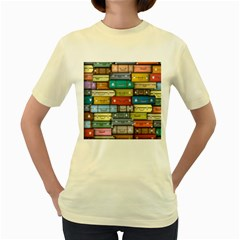 Colored Suitcases Women s Yellow T Shirt