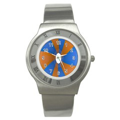 Curve Blue Orange Stainless Steel Watch by Jojostore