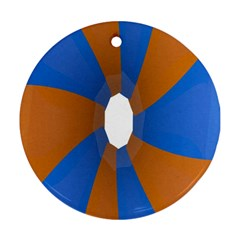 Curve Blue Orange Round Ornament (two Sides)  by Jojostore