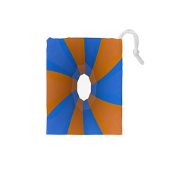 Curve Blue Orange Drawstring Pouches (small)