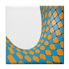 Curve Blue Yellow Tile Coasters by Jojostore