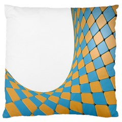 Curve Blue Yellow Large Flano Cushion Case (one Side) by Jojostore