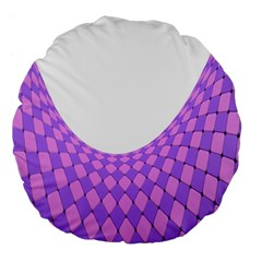 Curve Purple Pink Wave Large 18  Premium Flano Round Cushions by Jojostore