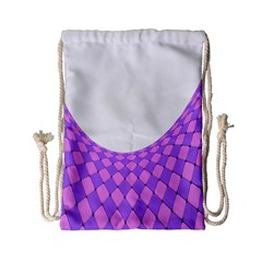 Curve Purple Pink Wave Drawstring Bag (small) by Jojostore
