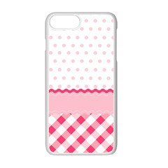 Cute Cartoon Decorative Pink Apple Iphone 7 Plus White Seamless Case