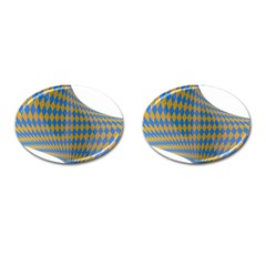 Curve Yellow Blue Cufflinks (oval) by Jojostore